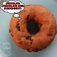 Chocolate Chocolate Chip Doughnuts by Allergy Superheroes. Peanut free, tree nut free, egg free, soy free, fish free, shellfish free.