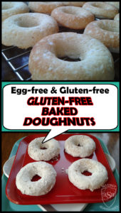 Gluten-Free Baked Doughnuts recipe by Allergy Superheroes. Peanut free, tree nut free, gluten-free, egg free, soy free, fish free, shellfish free.