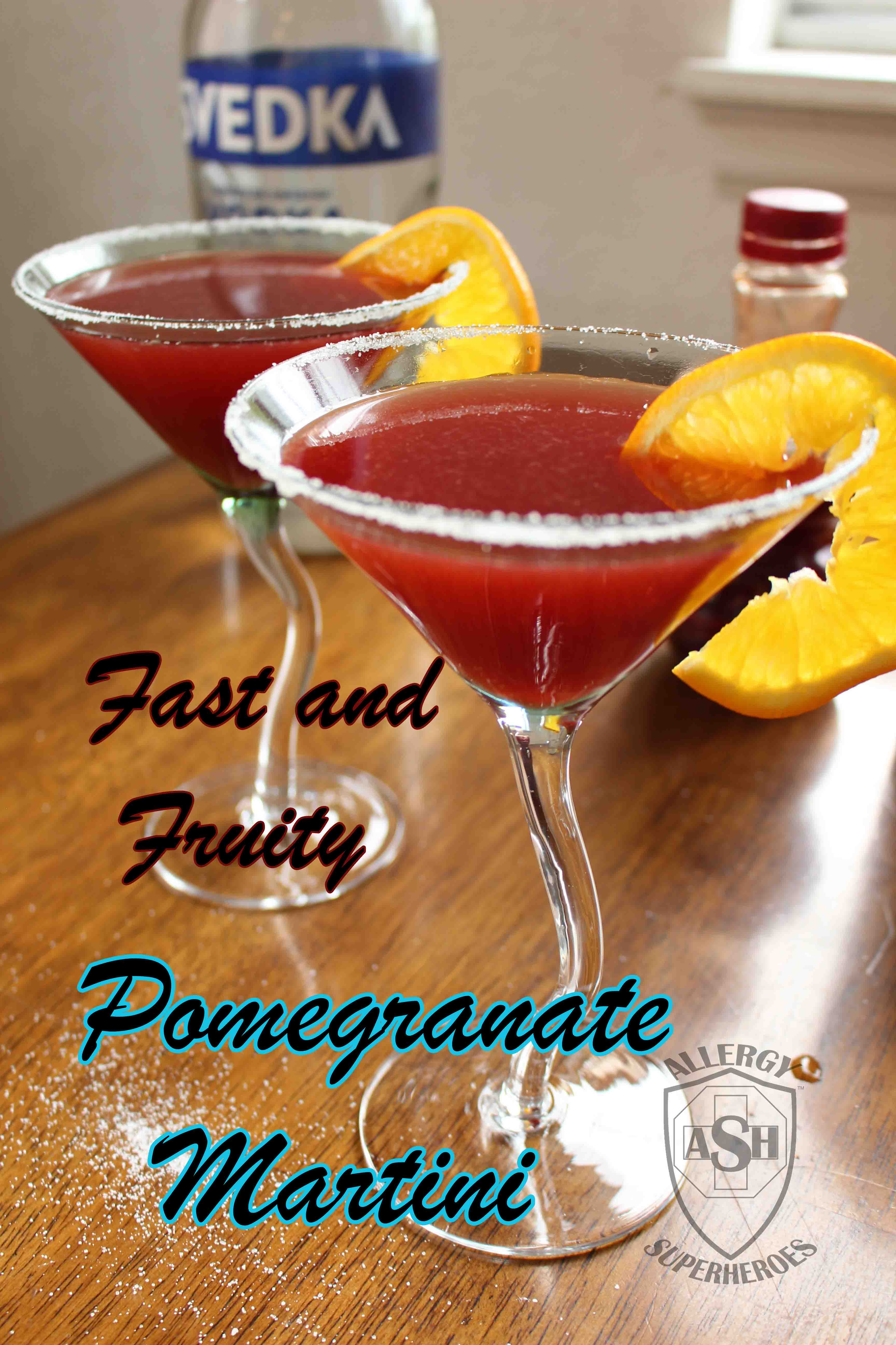Fast and Fruity Pomegranate Martini from Allergy Superheroes Blog - Refreshing and Delicious!