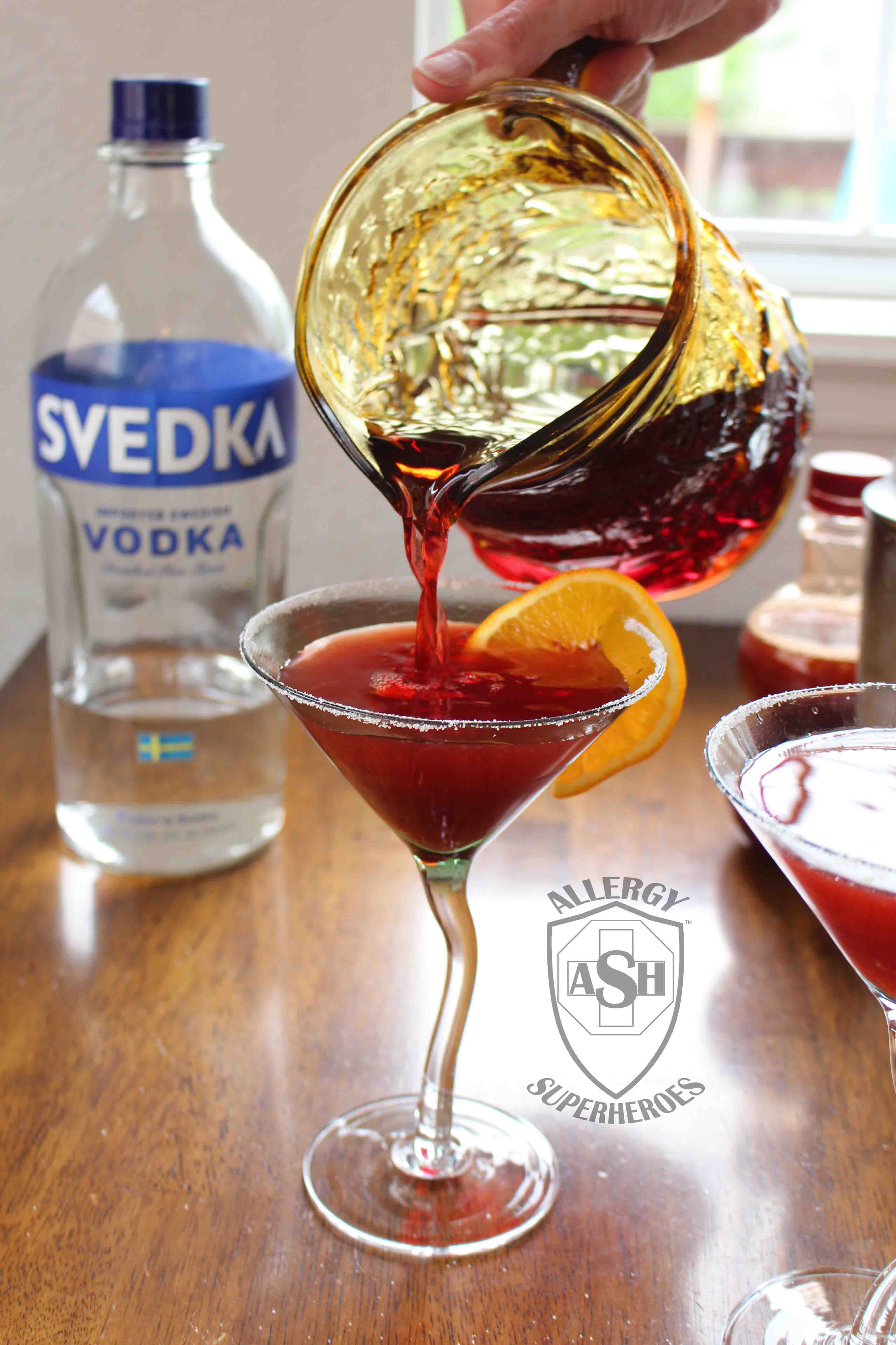 Pomegranate Martini recipe Food Allergy Superheroes 12
