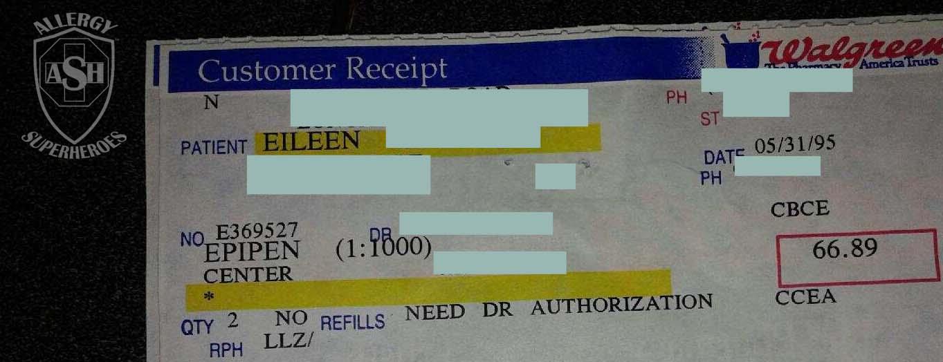 1995 EpiPen single prescription Food Allergy Superheroes