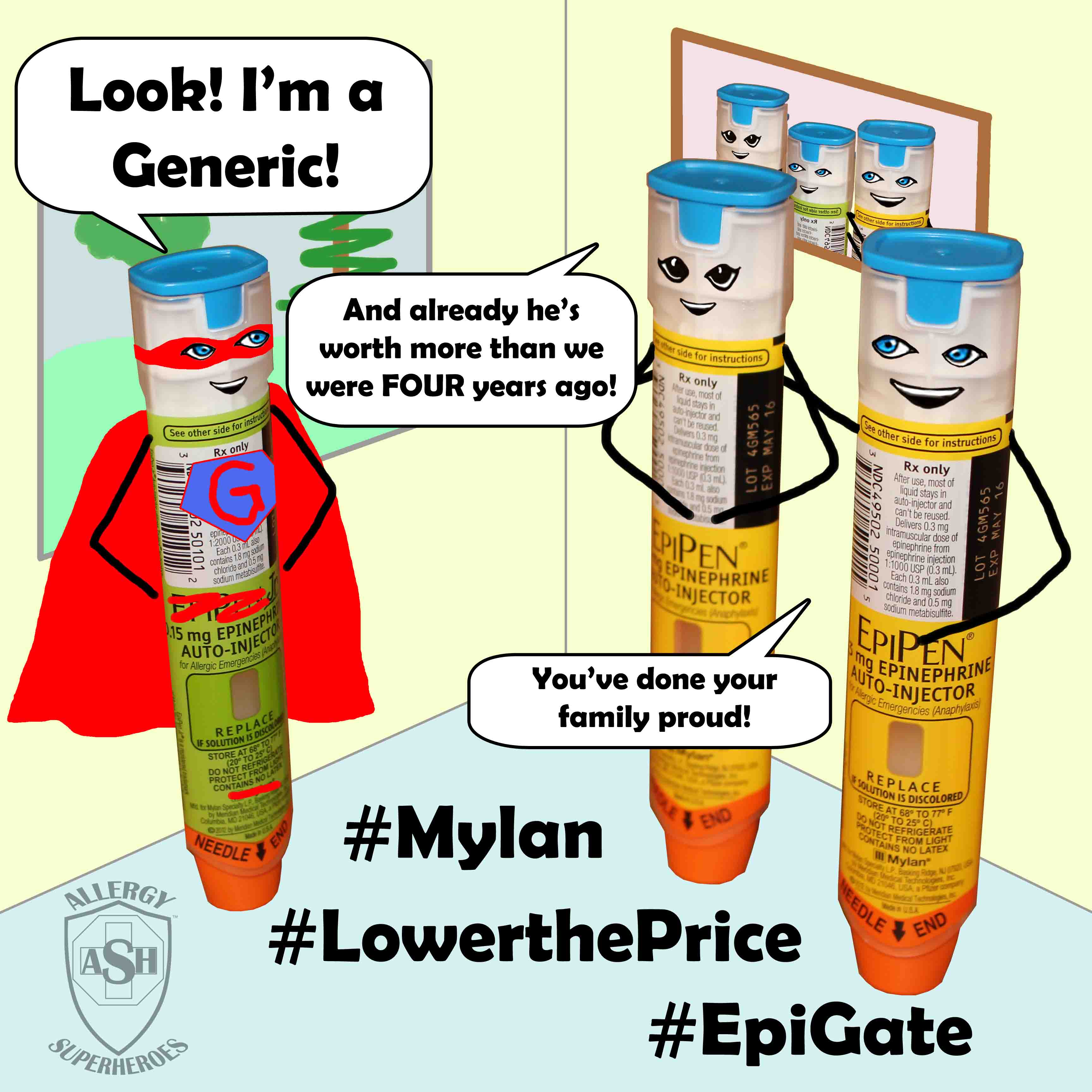 EpiPen Generic Cartoon Food Allergy Superheroes