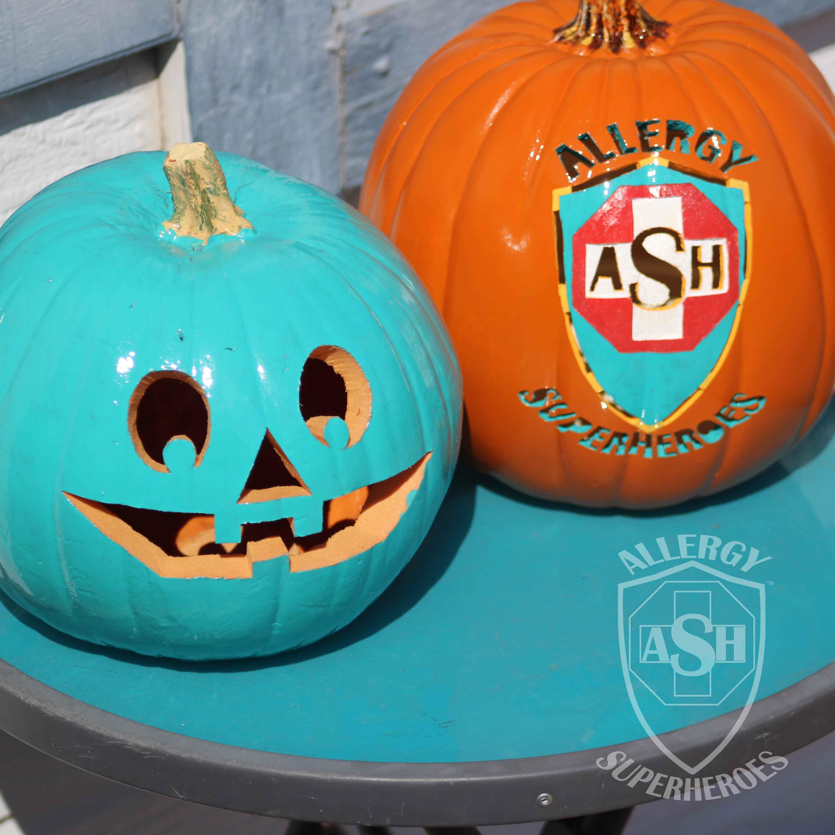 Teal Pumpkin and Logo Pumpkin   Allergy Superheroes