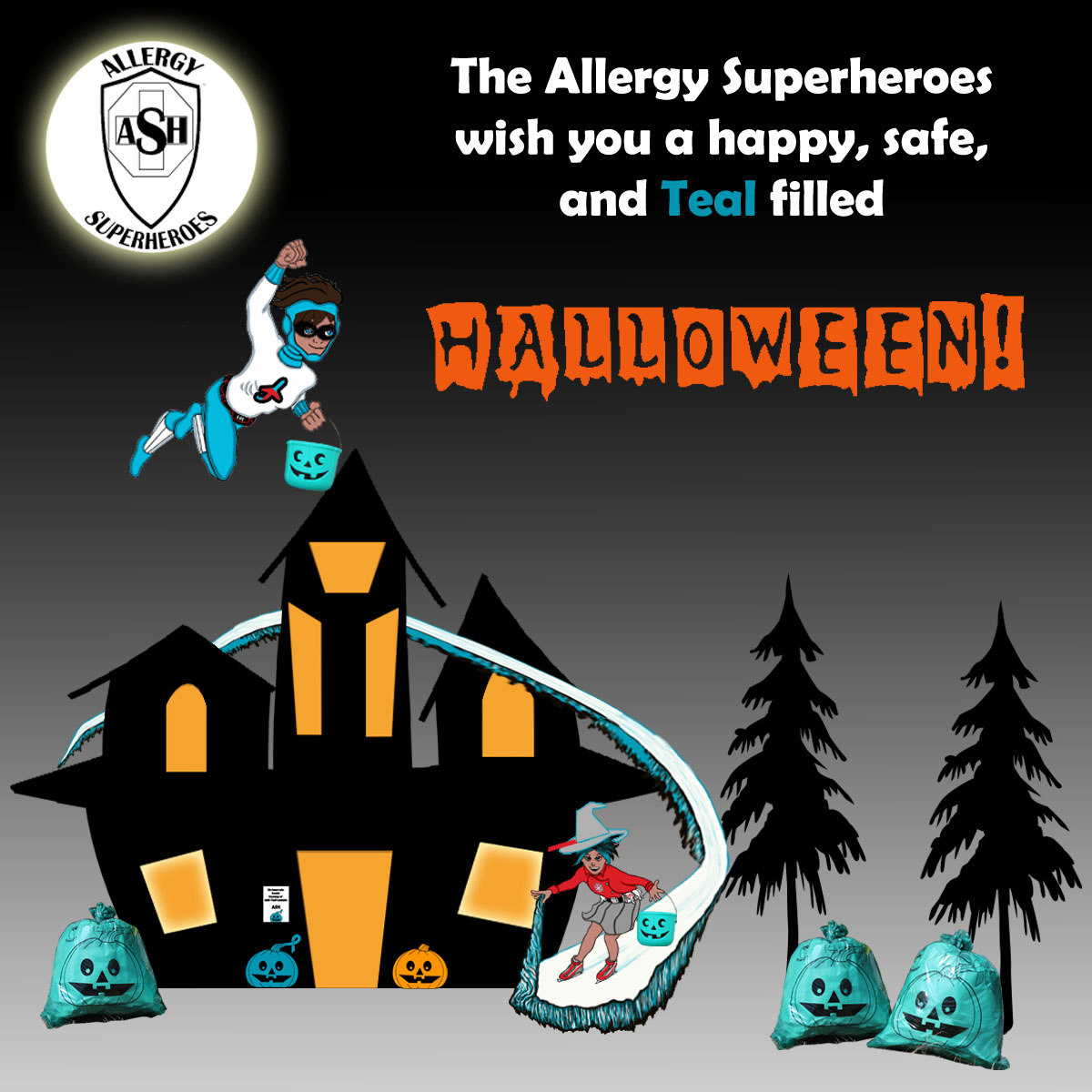 Happy Teal Halloween from the Allergy Superheroes!