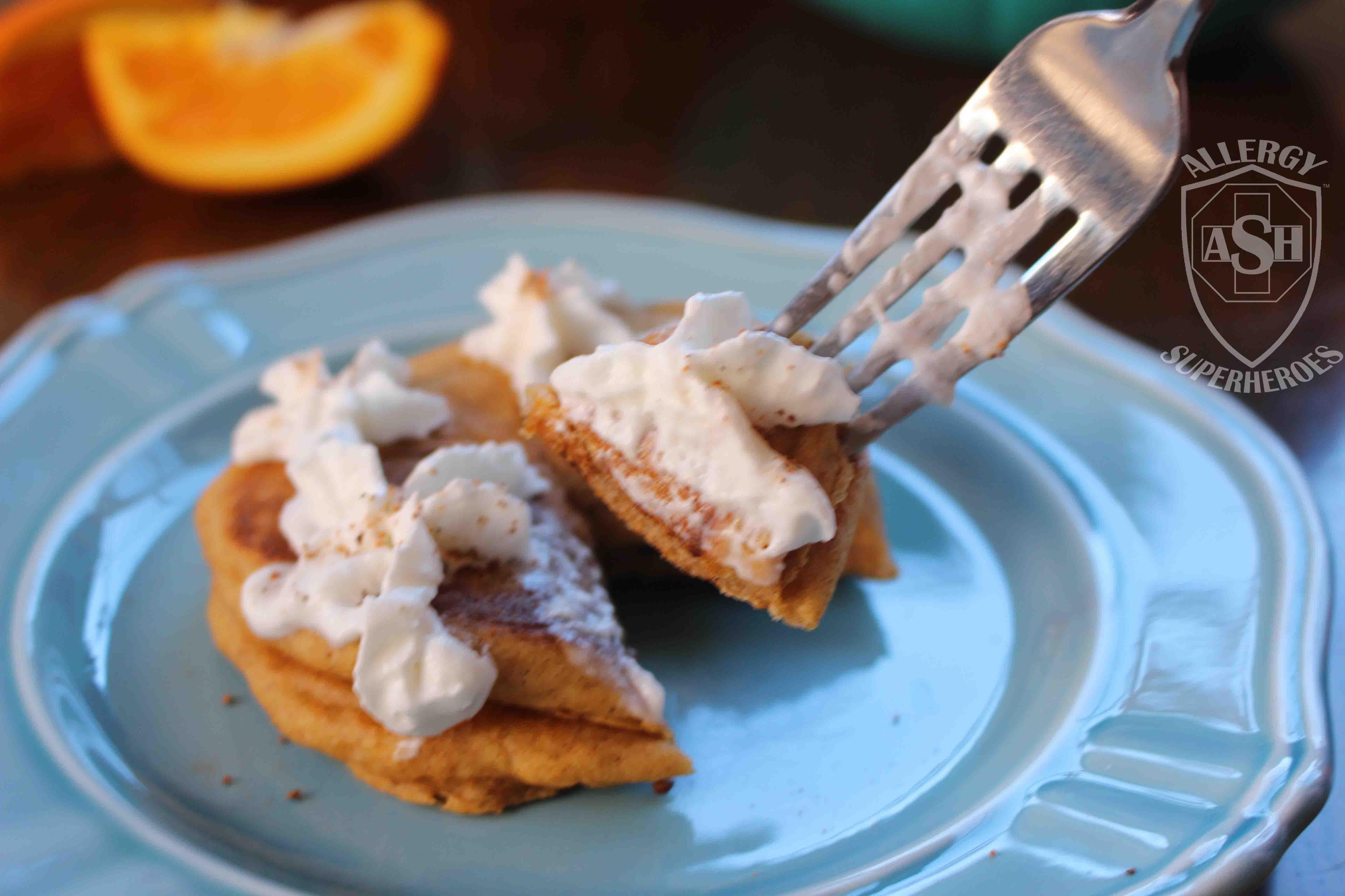 Gluten-Free Pumpkin Pancakes | a tasty seasonal breakfast | by Allergy Superheroes