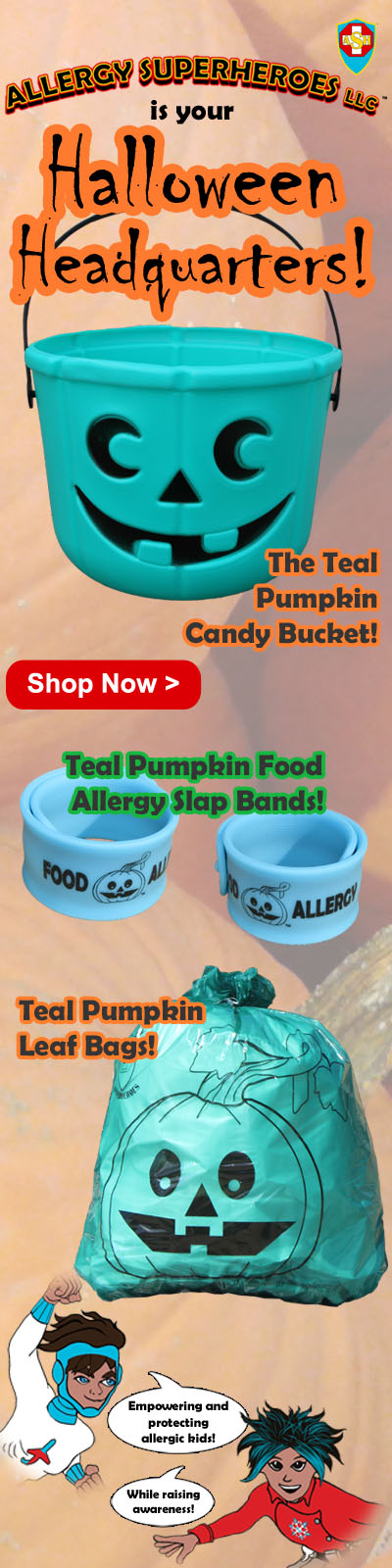 Great Teal Pumpkin Halloween Products from Allergy Superheroes!