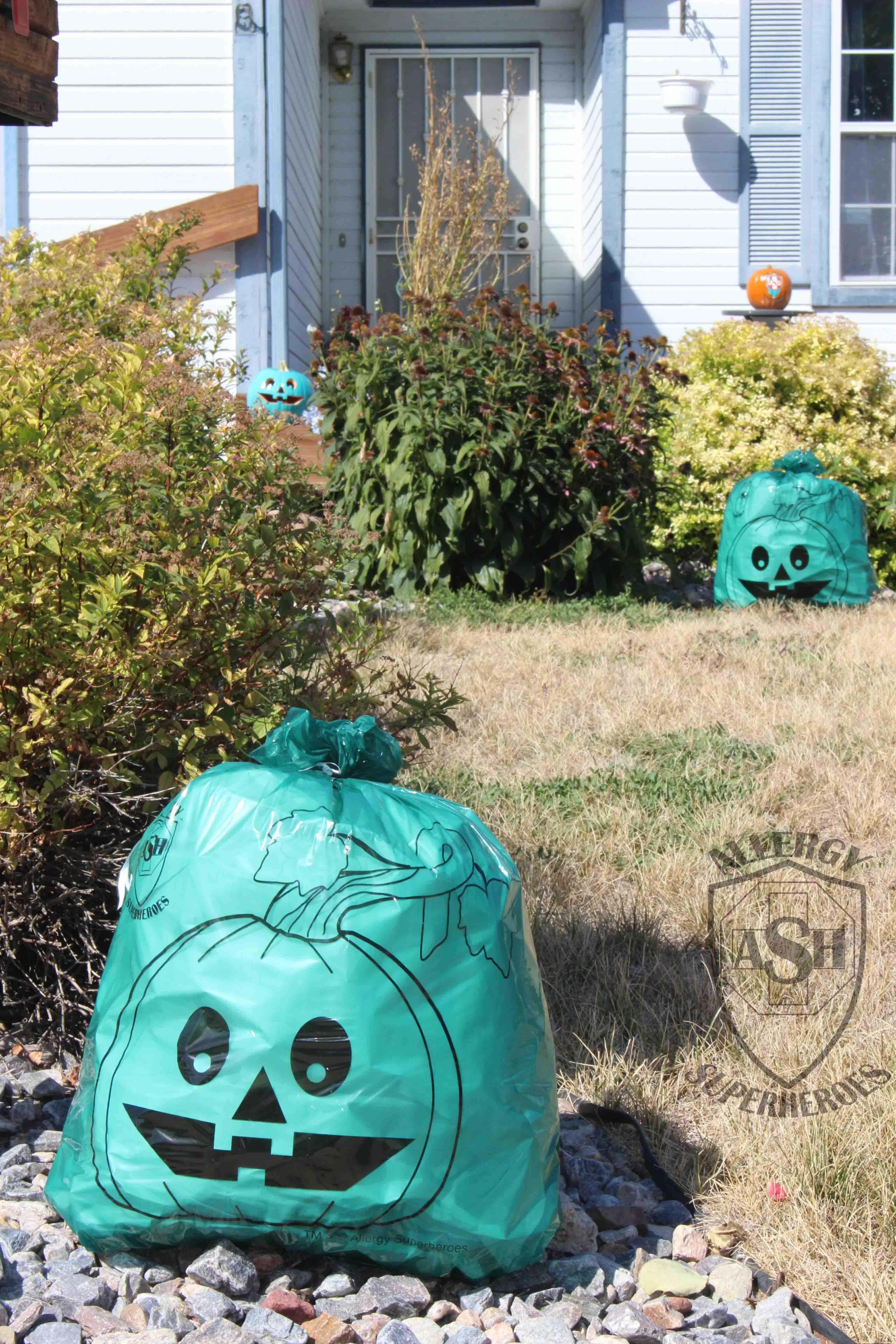 Teal Pumpkin Leaf Bags from Allergy Superheroes