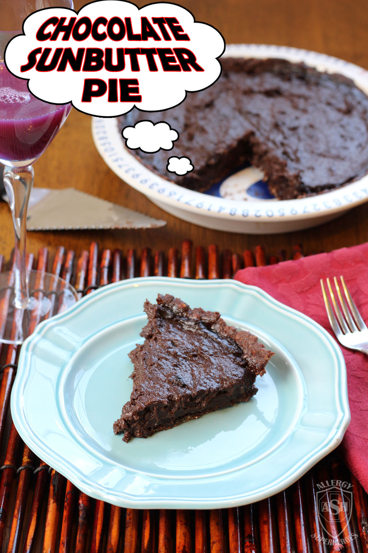 Chocolate Sunbutter Pie (with Enjoy Life Foods Chocolate Sunseed Crunch Crust)
