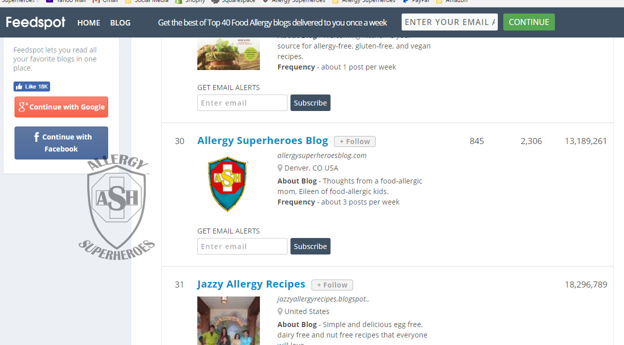 Allergy Superheroes is in the Top 40 Food Allergy Blogs from Feedspot!