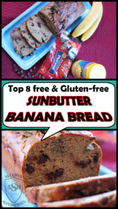 1 ½ cups gluten-free flour (we used Lillabee Everyday All Purpose Flour) ¾ cup Creamy Sunbutter ½ cup Enjoy Life Foods Dark Chocolate Morsels 3 Ripe Bananas (about 1 ½ cups) - mashed ½ tsp salt ½ tsp Ground Cinnamon ½ tsp Baking Soda ¼ tsp Baking Powder ¼ tsp Ground Nutmeg ¼ cup Dairy-Free butter (we used Earth Balance spread)