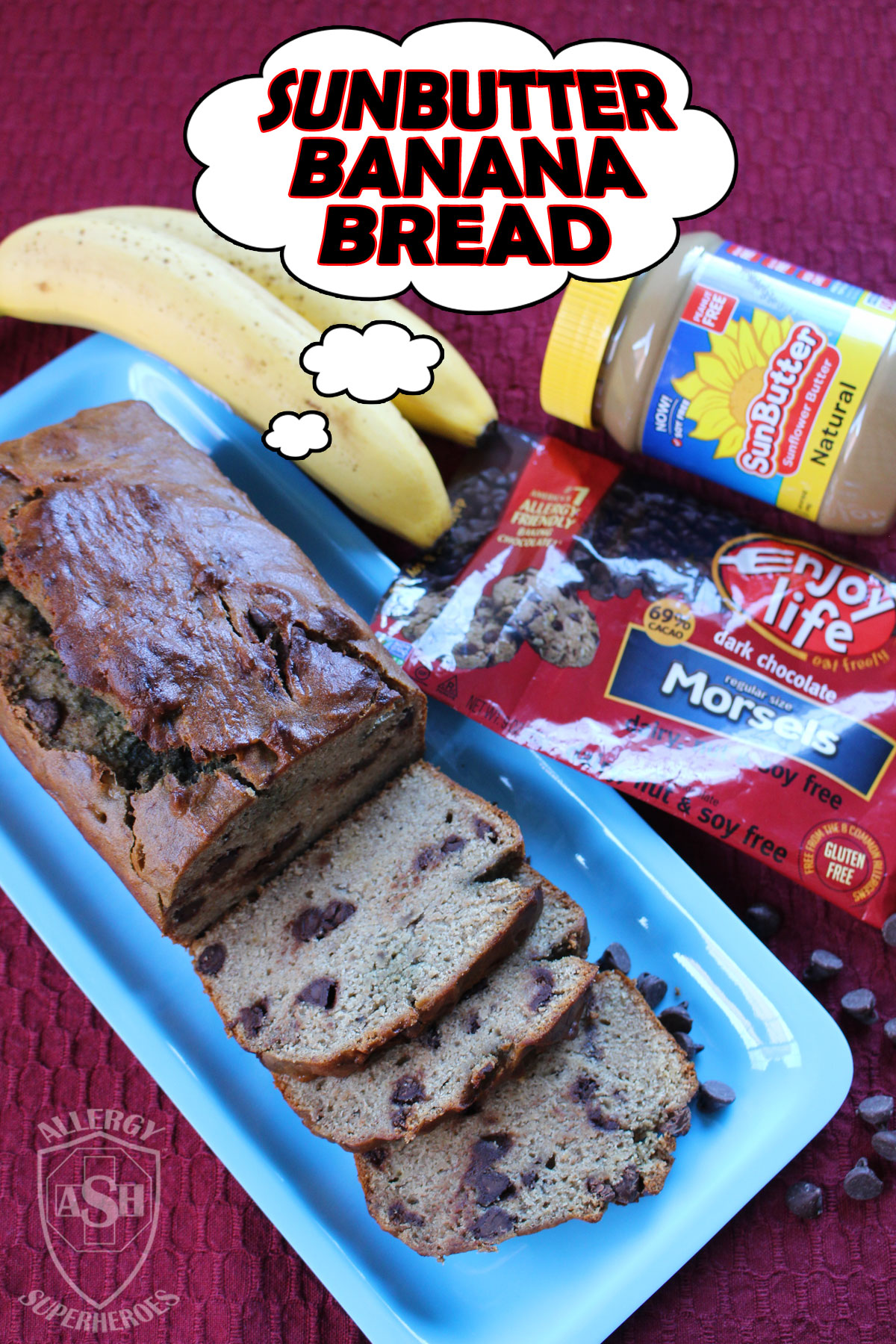 Sunbutter Banana Bread Enjoy Life Foods Dark Chocolate morsels recipe by Allergy Superheroes. Top 8 free! Peanut free, tree nut free, egg free, dairy free, soy free, wheat/gluten free, fish free, shellfish free.
