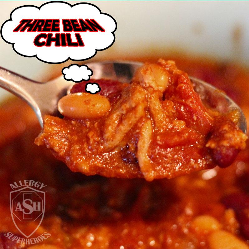Three Bean Chili by Allergy Superheroes. Super easy, slow-cooker, Top 8 free! Peanut free, tree nut free, egg free, dairy free, soy free, wheat/gluten free, fish free, shellfish free.