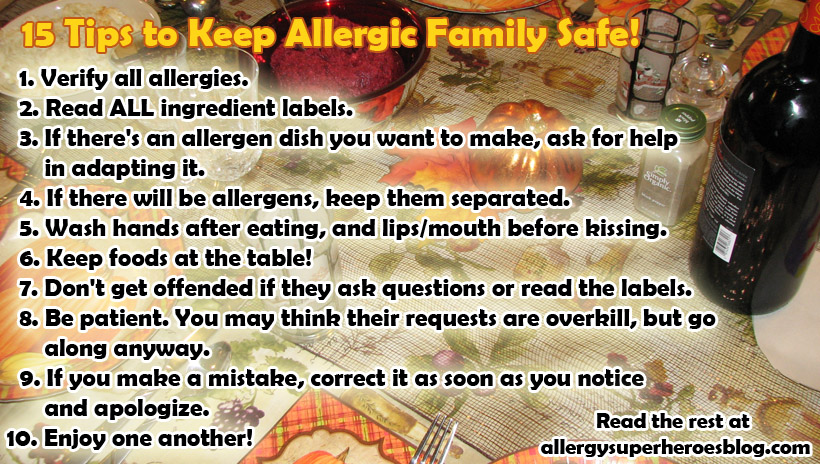 15 tips to keep allergic family safe at holiday meals Food Allergy Superheroes