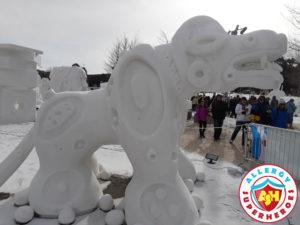 Breckenridge Snow Sculpture dragon by food Allergy Superheroes