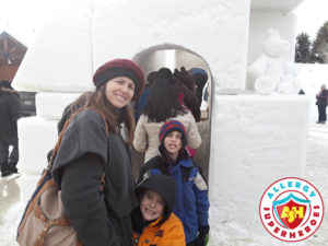 Breckenridge Snow Sculpture family by food Allergy Superheroes