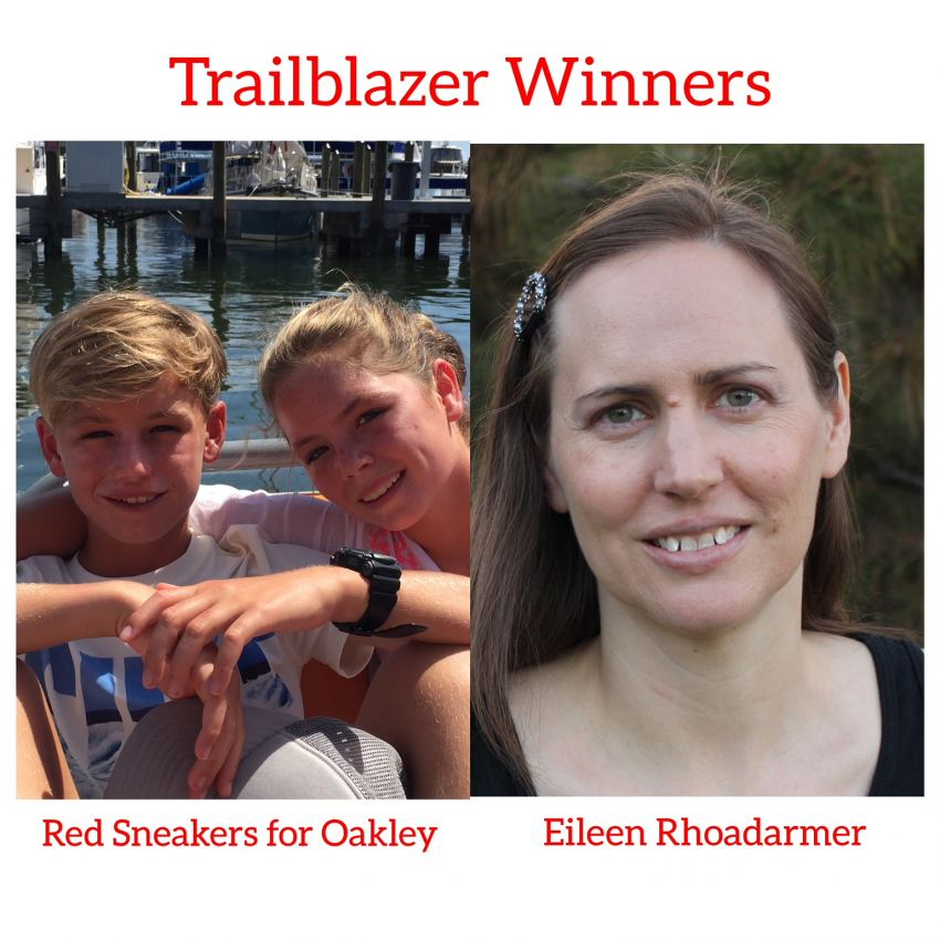 2018 trailblazer winners Food Allergy Superheroes Eileen Rhoadarmer and Red Sneakers for Oakley