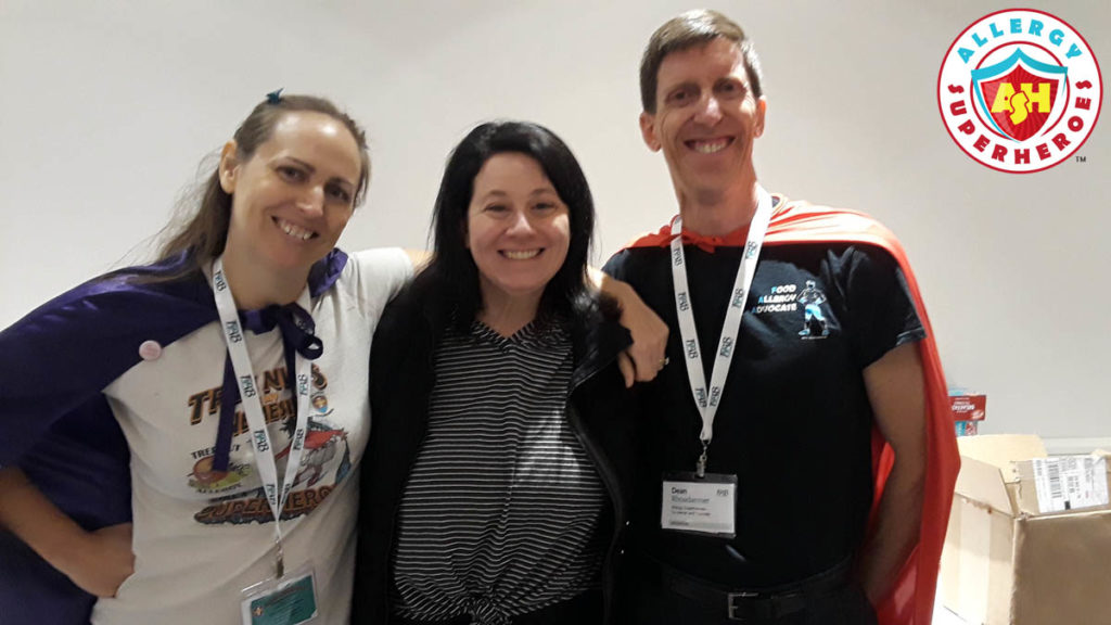 Erica Dermer aka Celiac and the Beast with the Allergy Superheroes - Eileen and Dean Rhoadarmer. Taken at FABlogCon.