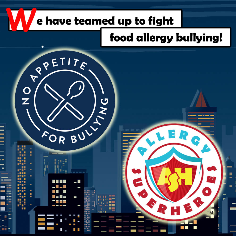 The Allergy Superheroes have teamed up for No Appetite for Food Allergy Bullying.