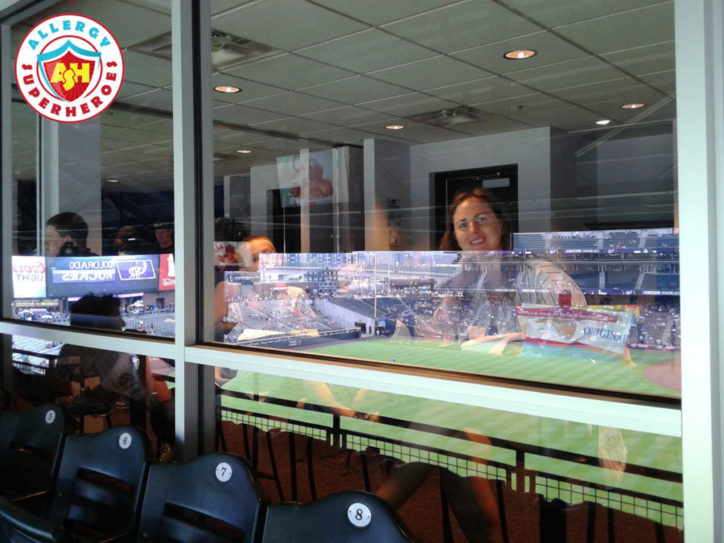 Watching the Colorado Rockies game from the suite by food Allergy Superheroes.