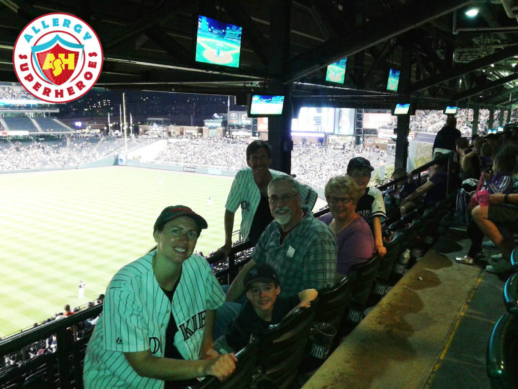 Our family at the Colorado Rockies peanut friendly baseball game by food Allergy Superheroes.
