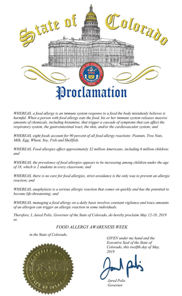 The Official State of Colorado Proclamation declaring Food Allergy Awareness Week in 2019 | by Food Allergy Superheroes