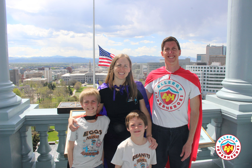 The Allergy Superheroes Family on the balcony of the Colorado State Capitol's gold dome | by Food Allergy Superheroes