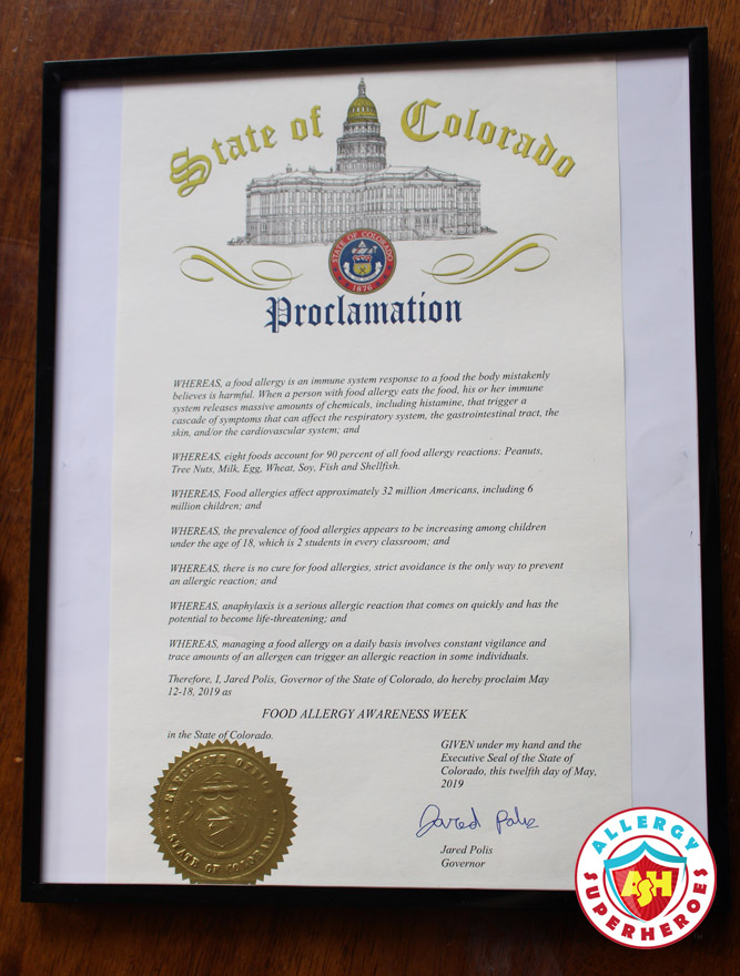 The Official signed and sealed State of Colorado Proclamation declaring Food Allergy Awareness Week in 2019 | by Food Allergy Superheroes