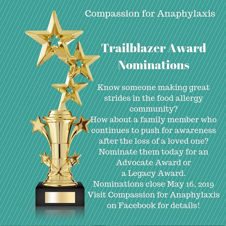 Trailblazer Award Nominations being accepted for 2019 | Image from Compassion for Anaphylaxis | Food Allergy Superheroes