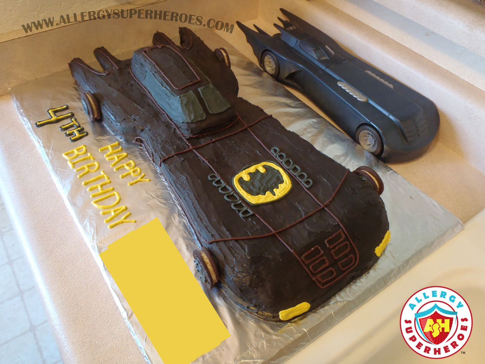 Egg-free, Allergy-Friendly Batmobile Birthday Cake | Cake Decorating 101 | by Allergy Superheroes