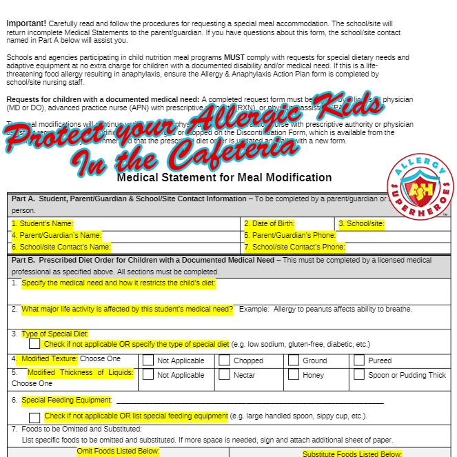 Protect your Allergic Kids in the Cafeteria | Meal Modification Form | Allergy Superheroes