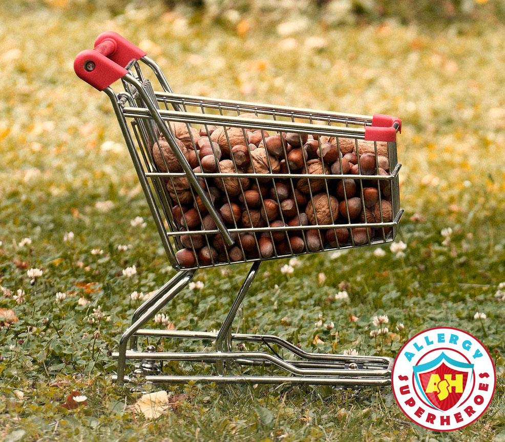A shopping cart full of tree nuts | Food Allergy Superheroes
