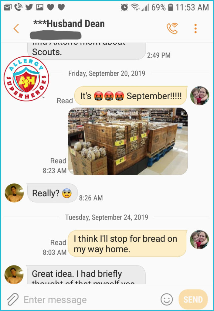 Text conversation about how early nuts show up in the grocery store | Food Allergy Superheroes
