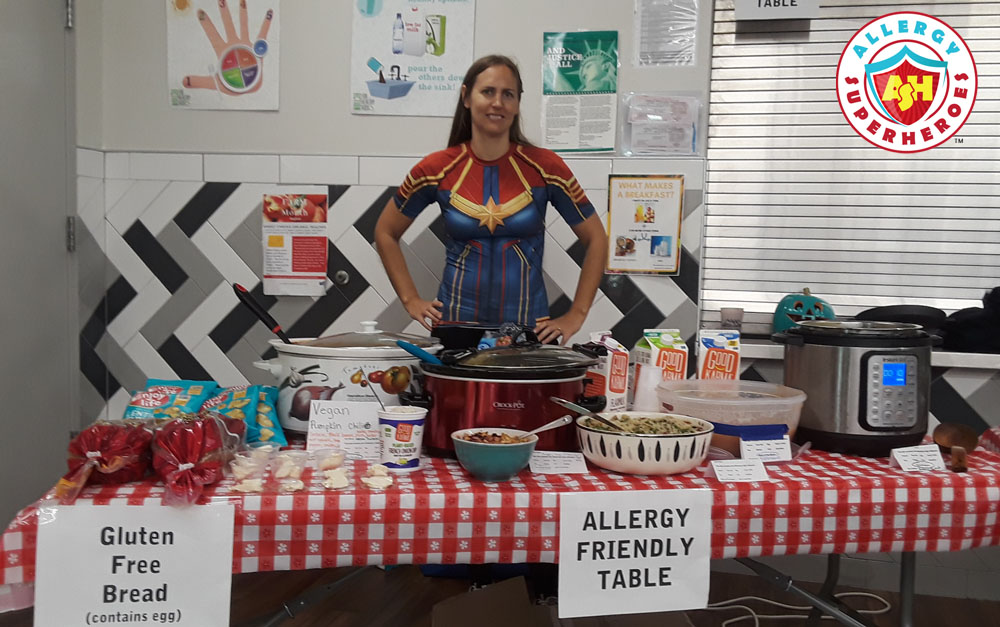 Eileen with our Allergy Friendly Harvest Festival Table | Food Allergy Superheroes