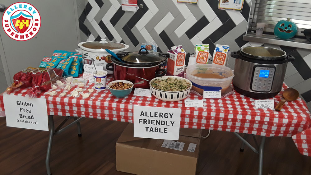 Allergy Friendly Table for the Harvest Fest | Full of donations and safe home/classmade foods | Food Allergy Superheroes