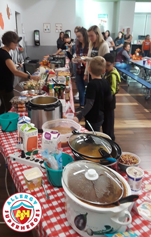 The food line for the Harvest Festival | Food Allergy Superheroes