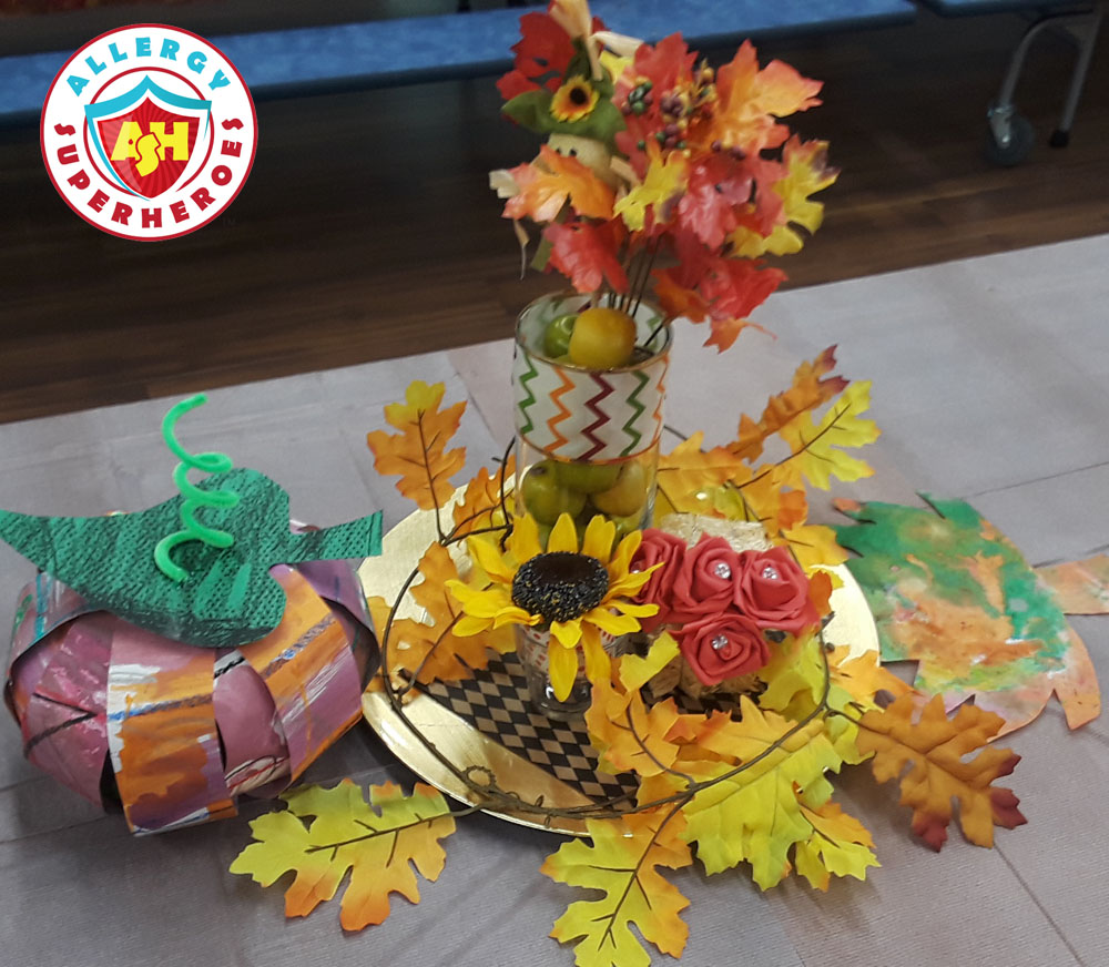 Table decorations for the Harvest Festival | Food Allergy Superheroes