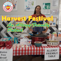 Our school's Harvest Festival | an Allergy-Friendly Potluck | Allergy-Friendly table courtesy of Allergy Superheroes