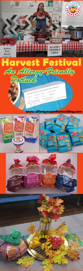 Our school's Harvest Festival | an Allergy-Friendly Potluck | Allergy-Friendly table courtesy of Allergy Superheroes