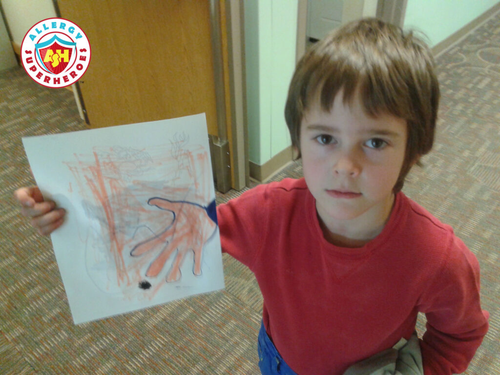 "Kal after skin testing | He drew a picture of an ""itch"" 