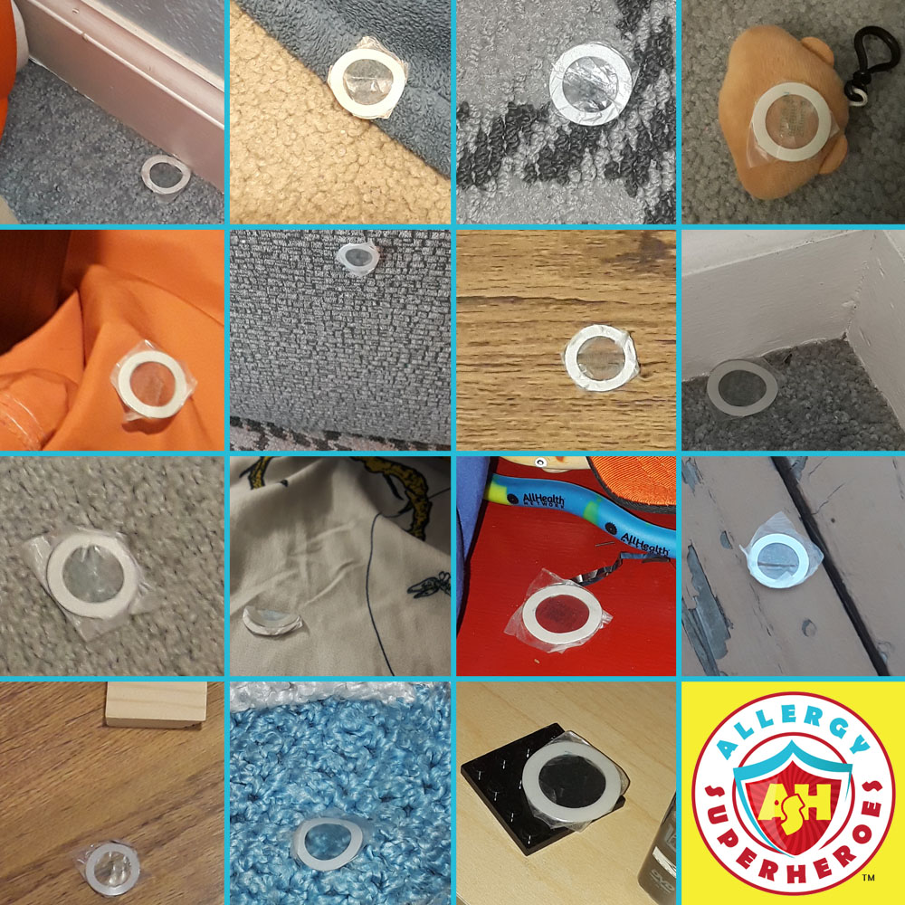 Collage of peanut patches stuck to places they don't belong | Food Allergy Superheroes