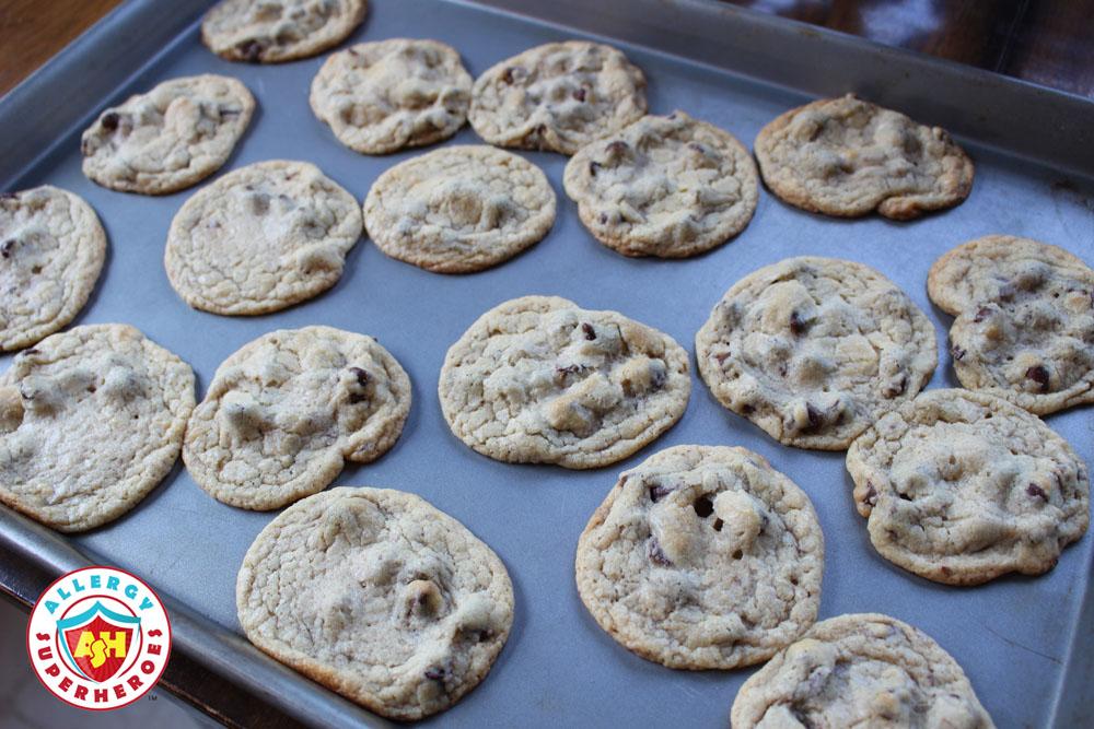 Egg Free Chocolate Chip Cookies on baking sheet | Food Allergy Superheroes