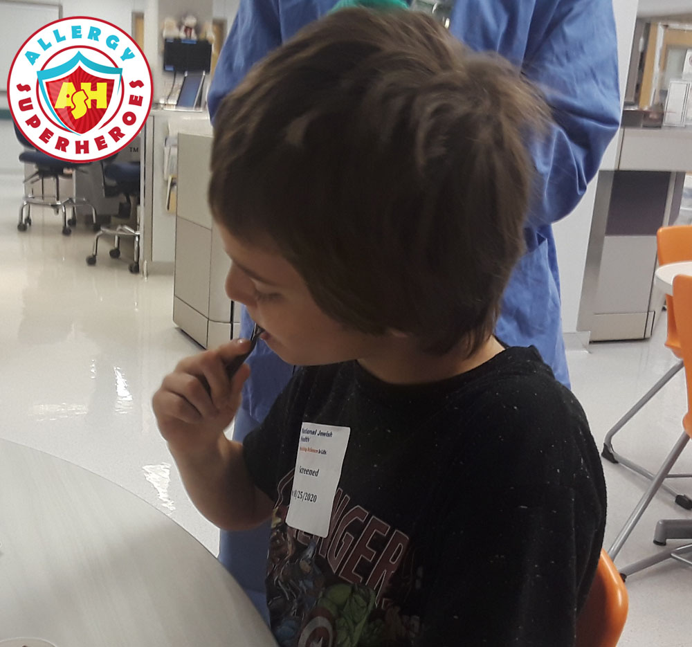 Eating his first peanut dose ever | Food Allergy Superheroes