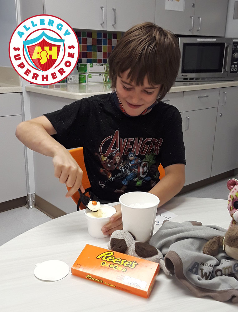 Kal eating Reese's Pieces at his final peanut challenge | Food Allergy Superheroes